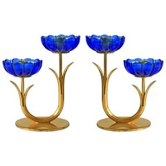 Scandinavian Mid-Century Modern Candle Holders, Gunnar Ander for Ystad Metall,