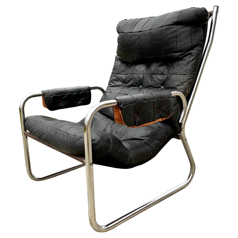Scandinavian Mid-Century Modern Leather and Chrome Armchair