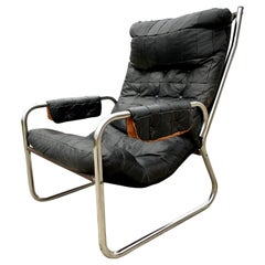 Scandinavian Mid-Century Modern Leather and Chrome Armchair