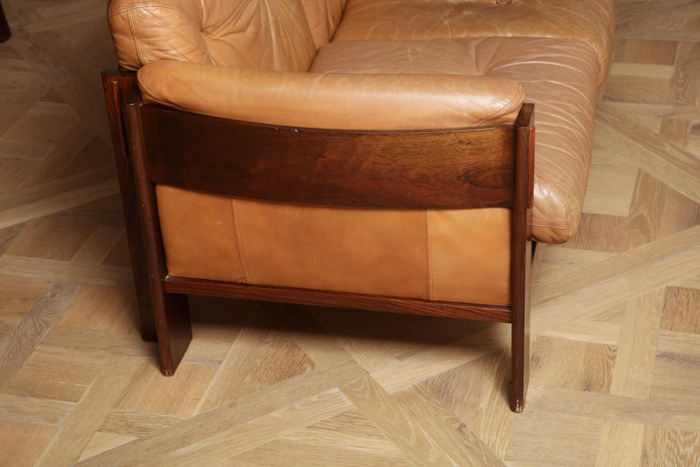 Norwegian Scandinavian Mid Century Modern Leather and Rosewood Sofa For Sale