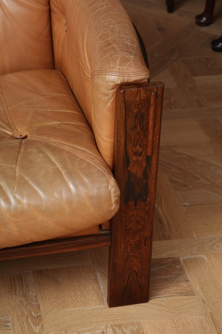 Mid-20th Century Scandinavian Mid Century Modern Leather and Rosewood Sofa For Sale