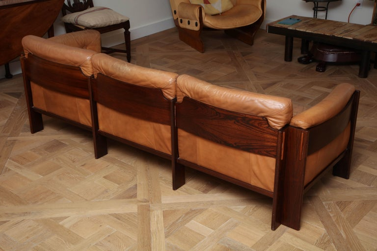 Scandinavian Mid Century Modern Leather and Rosewood Sofa For Sale 2
