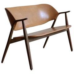 Scandinavian Mid-Century Modern Leather Loveseat Sofa Bench