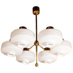 Scandinavian Mid-Century Modern Six-Arm Brass and Frosted White Glass Chandelier