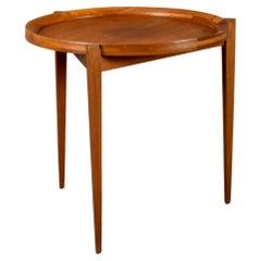 Scandinavian Mid-Century Modern Teak Side Table with Portable Tray