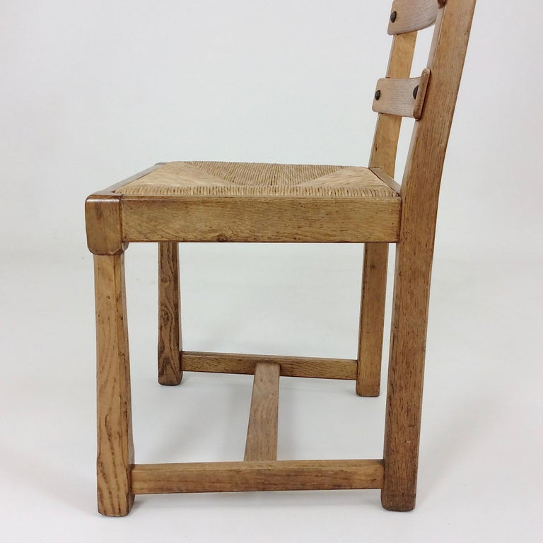 Scandinavian Midcentury Oak chairs, circa 1950 For Sale 4