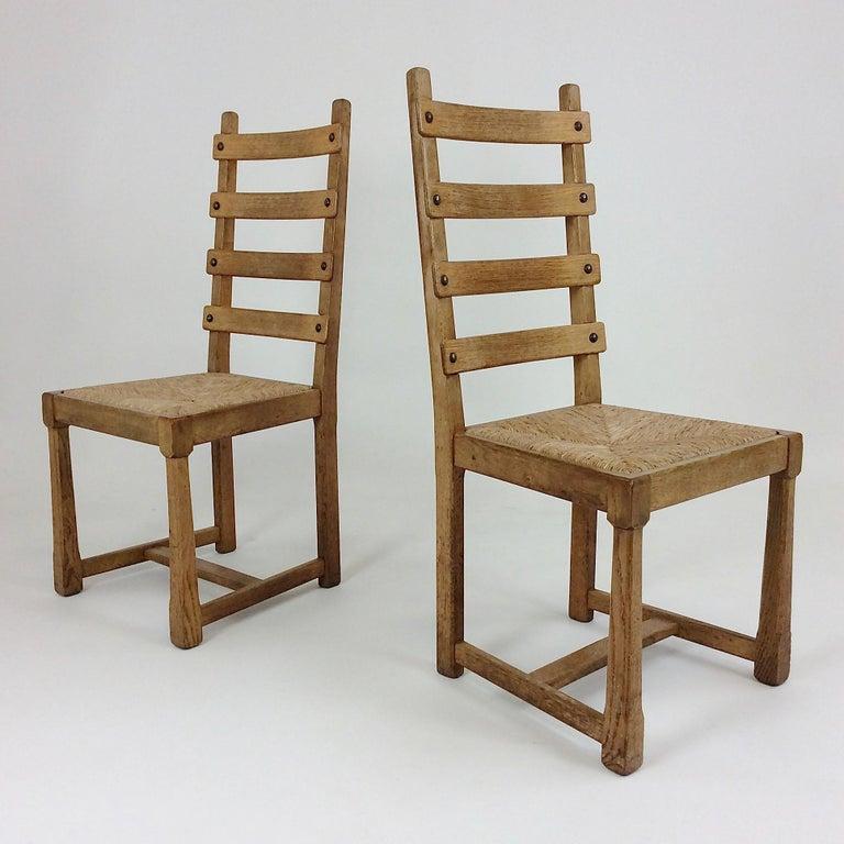 Scandinavian Midcentury Oak chairs, circa 1950 For Sale 6