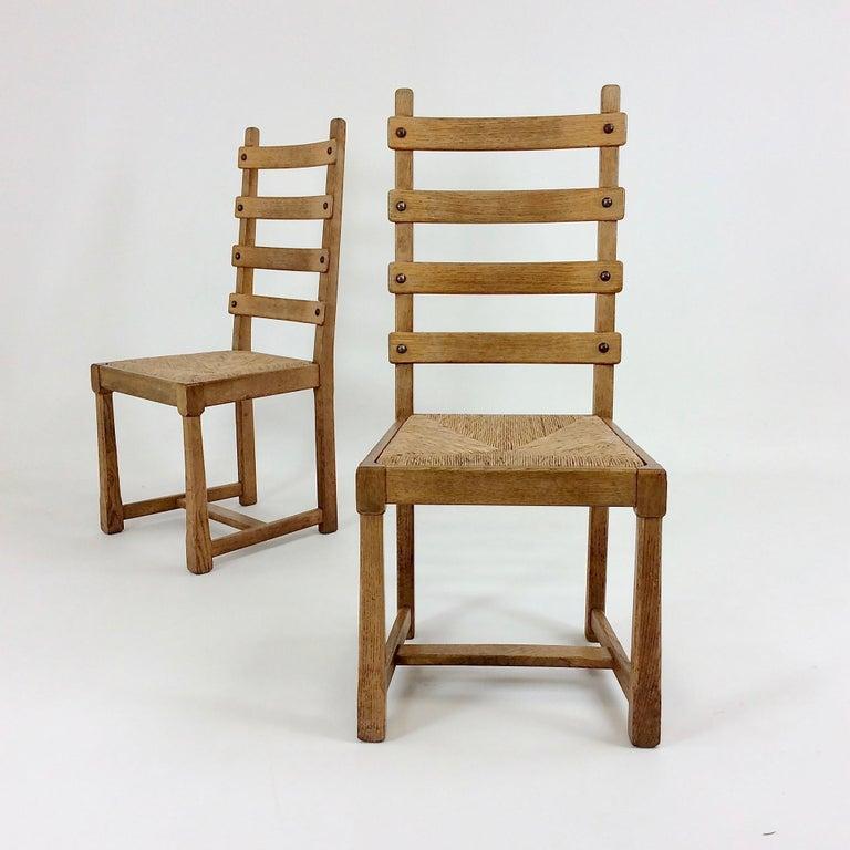 Scandinavian Midcentury Oak chairs, circa 1950 For Sale 7