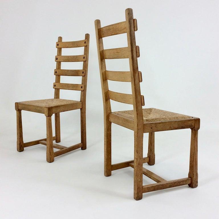 Scandinavian Midcentury Oak chairs, circa 1950 For Sale 8