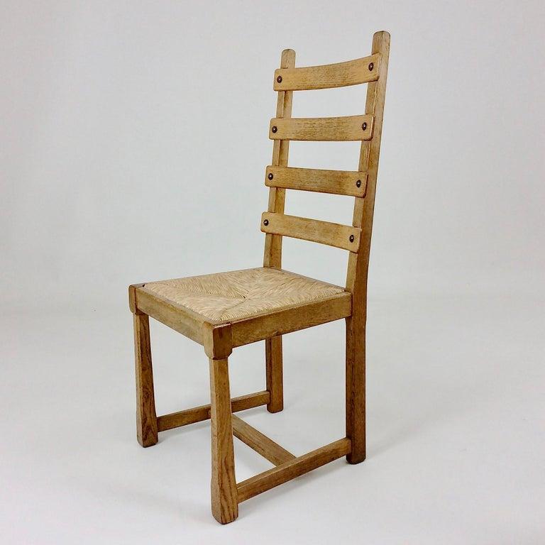 Straw Scandinavian Midcentury Oak chairs, circa 1950 For Sale