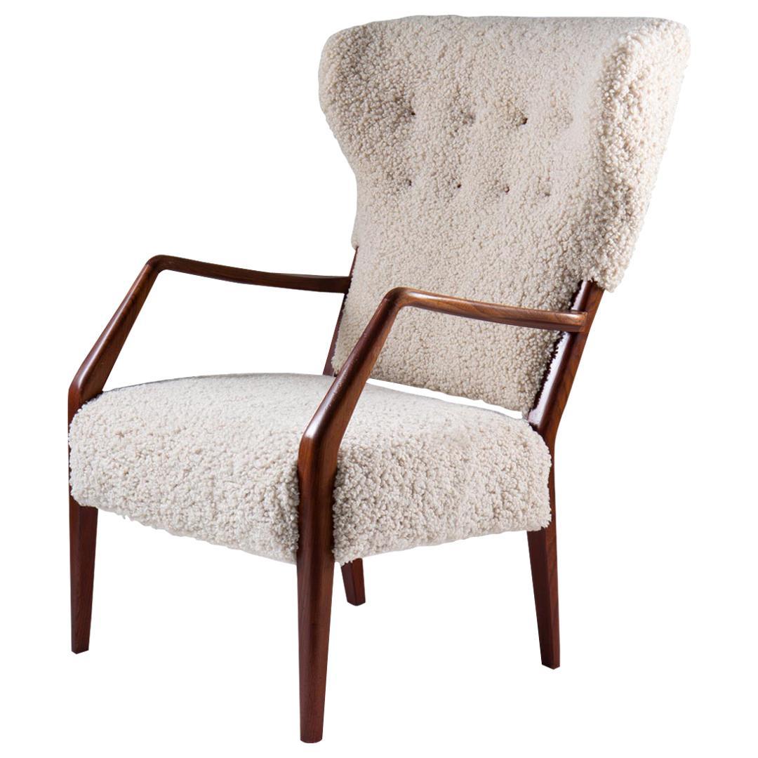 Scandinavian Mid Century Sheepskin Lounge Chair