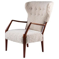 Scandinavian Mid Century Sheepskin Lounge Chair