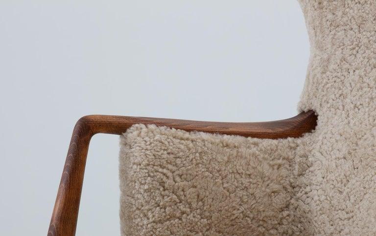 Scandinavian Midcentury Sheepskin Sofa / Loveseat 1940s, Denmark For Sale 4