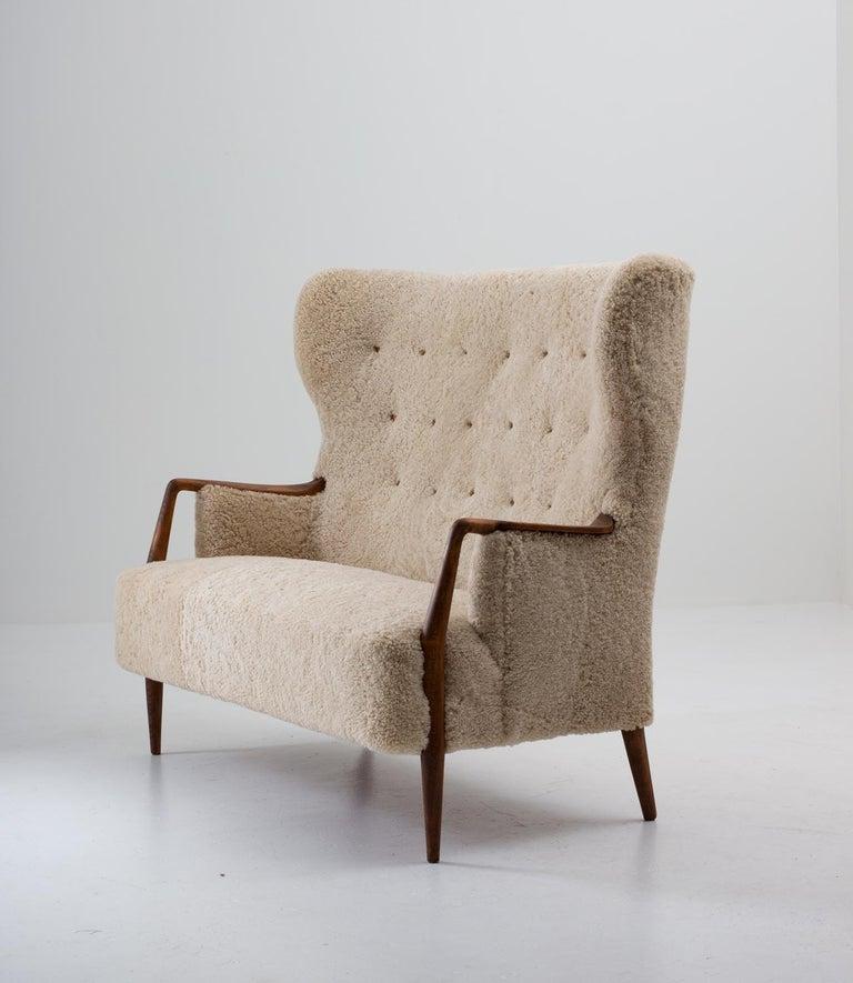 Scandinavian Modern Scandinavian Midcentury Sheepskin Sofa / Loveseat 1940s, Denmark For Sale