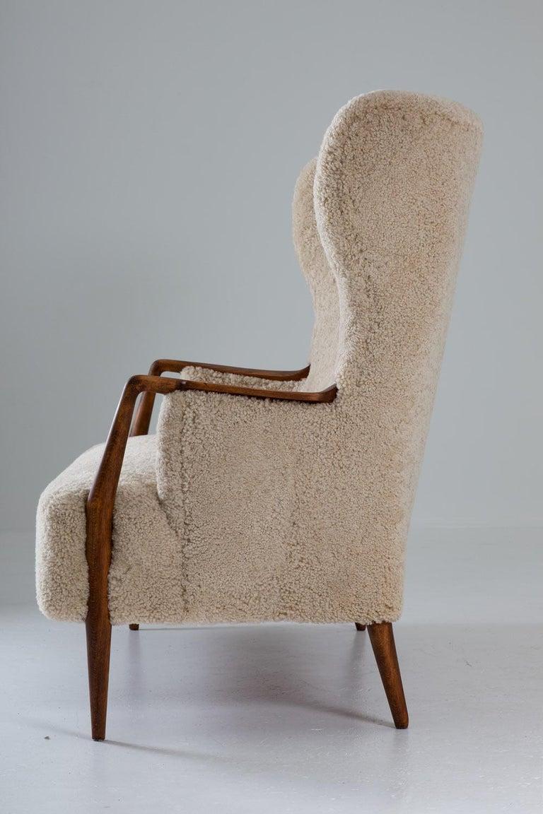 20th Century Scandinavian Midcentury Sheepskin Sofa / Loveseat 1940s, Denmark For Sale