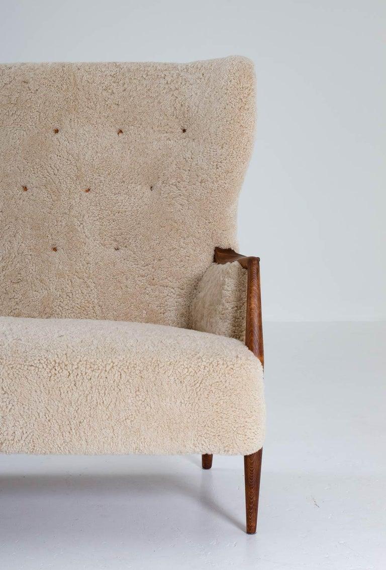 Scandinavian Midcentury Sheepskin Sofa / Loveseat 1940s, Denmark For Sale 1