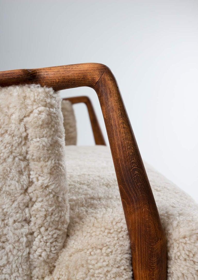 Scandinavian Midcentury Sheepskin Sofa / Loveseat 1940s, Denmark For Sale 2