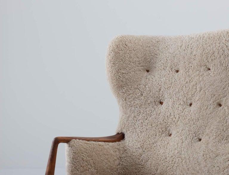 Scandinavian Midcentury Sheepskin Sofa / Loveseat 1940s, Denmark For Sale 3