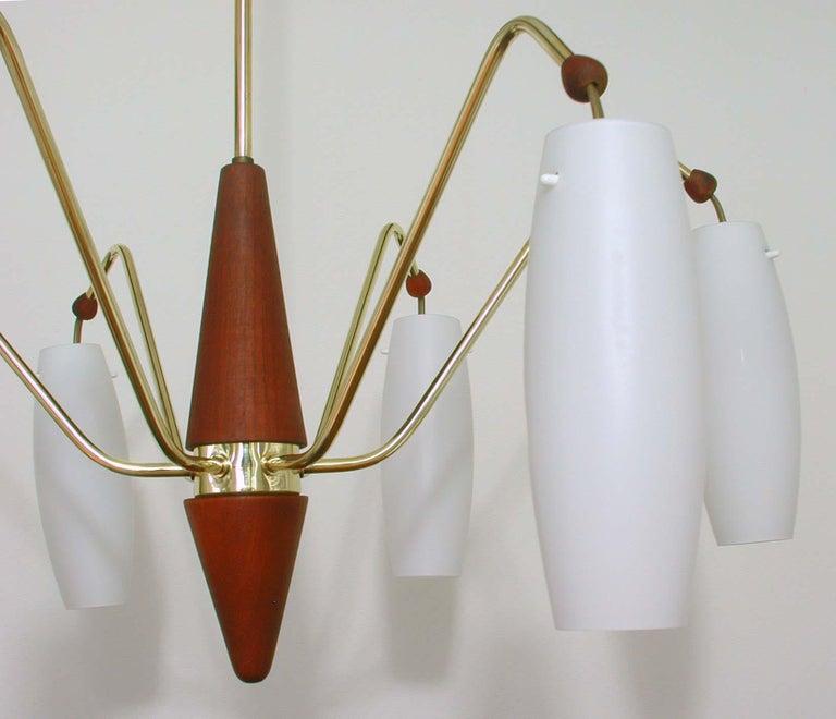 Scandinavian Modern Scandinavian Midcentury Teak & Opaline Glass Six-Light Chandelier, Sweden 1960s