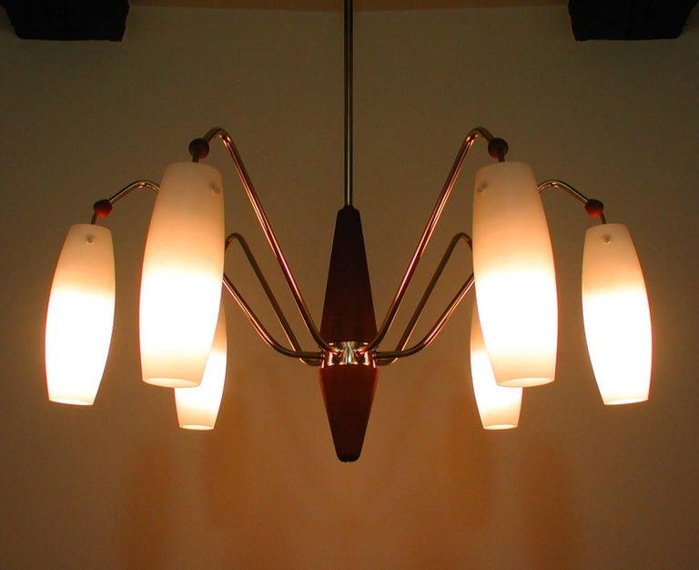 Scandinavian Midcentury Teak & Opaline Glass Six-Light Chandelier, Sweden 1960s 2