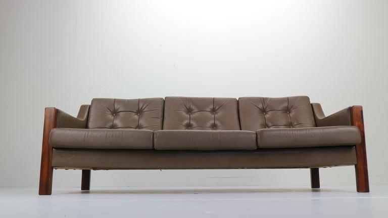 Scandinavian Modern Scandinavian Midcentury Three-Seat Leather Sofa and Rosewood, 1970s For Sale