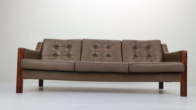 Late 20th Century Scandinavian Midcentury Three-Seat Leather Sofa and Rosewood, 1970s For Sale