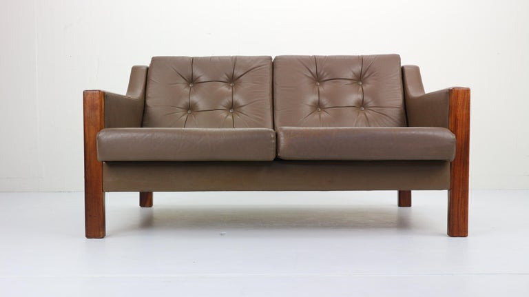 Scandinavian Midcentury Two-Seat Leather Sofa and Rosewood, 1970s ...