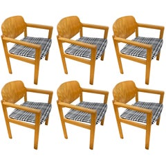 Scandinavian Midcentury Armchairs in Plaid, Set of 6