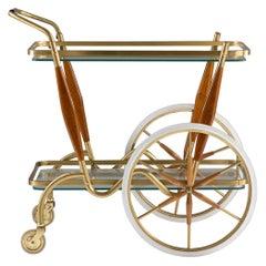 Scandinavian Midcentury Bar Cart in Brass, Glass and Teak