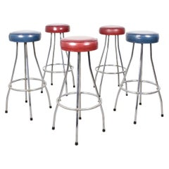 Scandinavian Midcentury Bar Stools, Set of 5