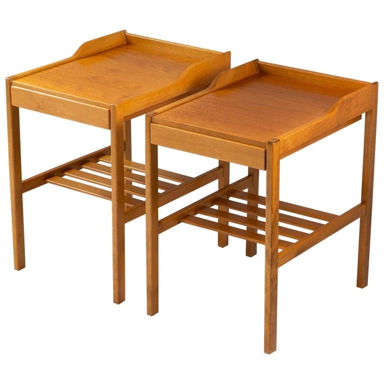 Scandinavian Midcentury Bedside Tables by Bertil Fridhagen for Bodafors, 1960s For Sale