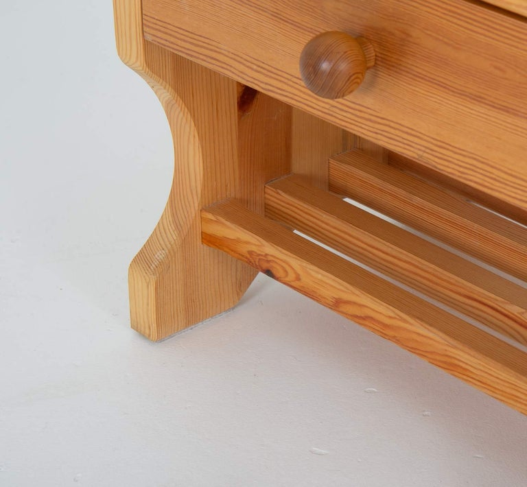 Swedish Scandinavian Midcentury Bedside Tables in Pine For Sale