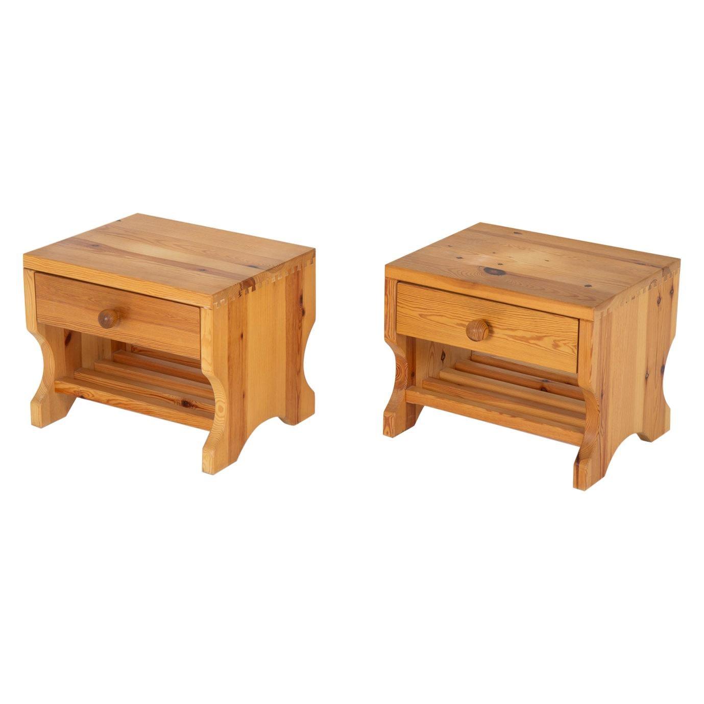 Scandinavian Midcentury Bedside Tables in Pine