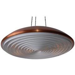 Scandinavian Midcentury Copper Ceiling Saucer Lamp Norwegian Røste & Co, 1960s
