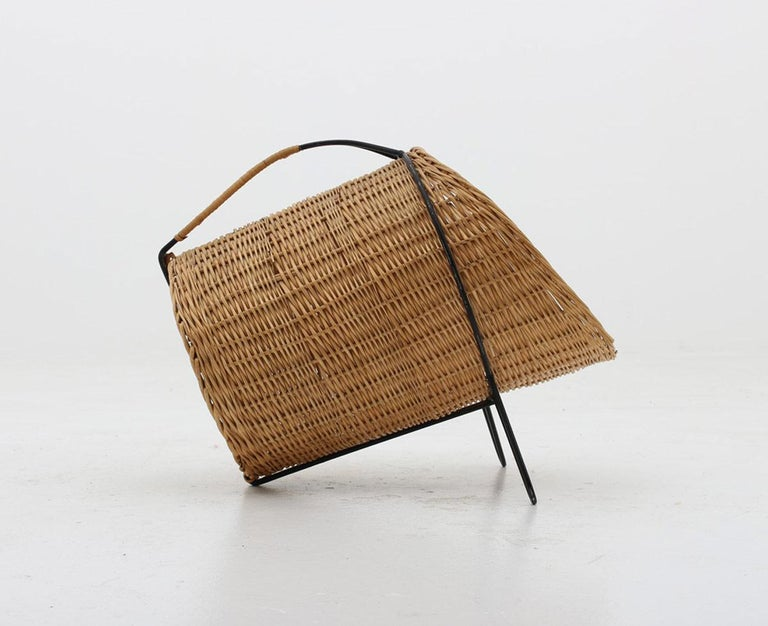 Beautiful firewood basket produced in Sweden, circa 1950.