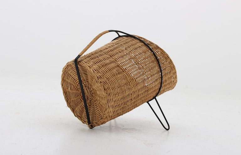 Mid-Century Modern Scandinavian Midcentury Firewood Basket in Cane and Metal For Sale