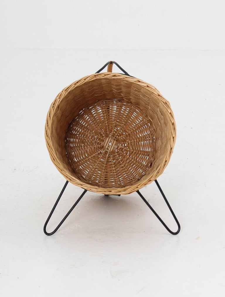 Swedish Scandinavian Midcentury Firewood Basket in Cane and Metal For Sale