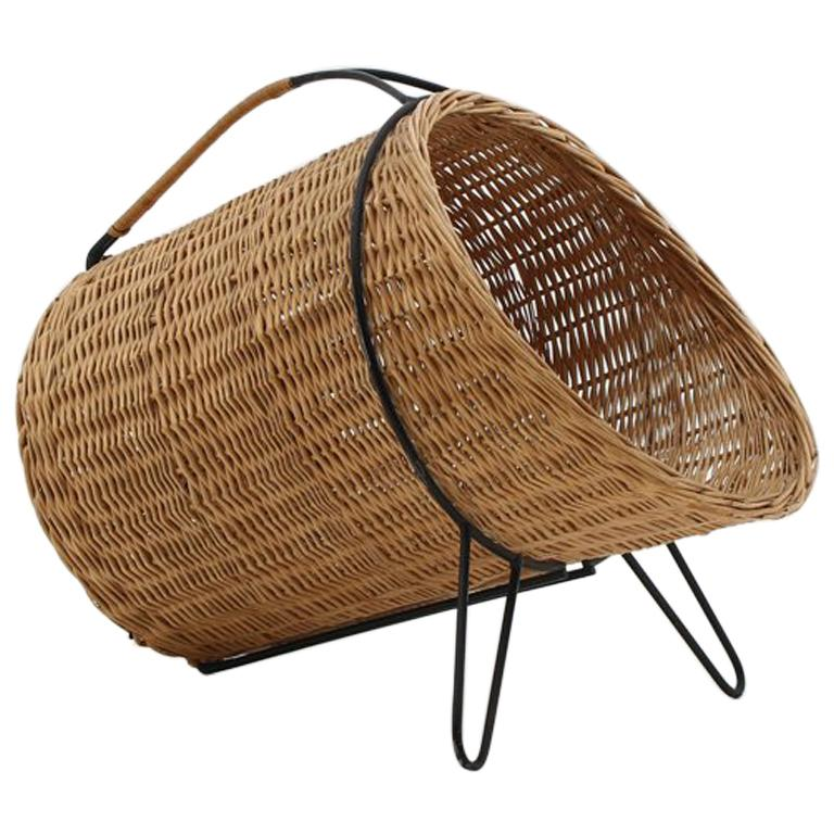 Scandinavian Midcentury Firewood Basket in Cane and Metal For Sale