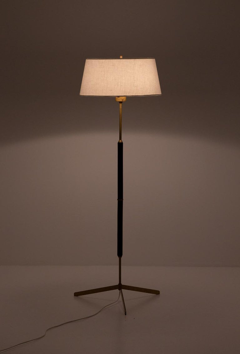 Scandinavian Modern Scandinavian Midcentury Floor Lamps in Brass and Wood by Bergboms, Sweden For Sale