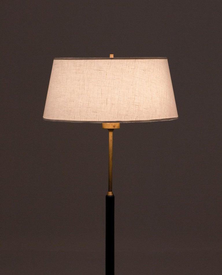 Swedish Scandinavian Midcentury Floor Lamps in Brass and Wood by Bergboms, Sweden For Sale