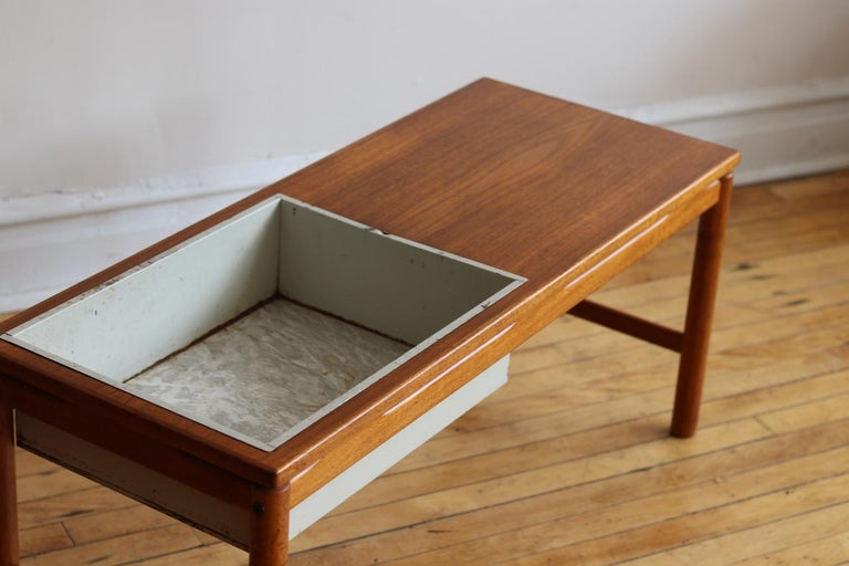 Teak Scandinavian Midcentury HMB Planter and Coffee Table For Sale