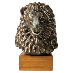Scandinavian Midcentury Lion Figurine by Gunnar Nylund for Rörstrand, Sweden