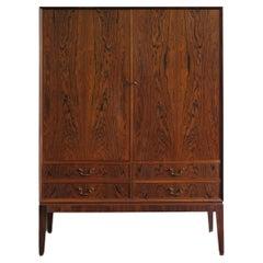 Scandinavian Midcentury Modern Design Dark Wood Cabinet, 1960s