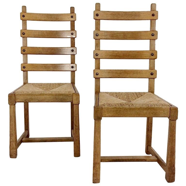 Scandinavian Midcentury Oak chairs, circa 1950 For Sale