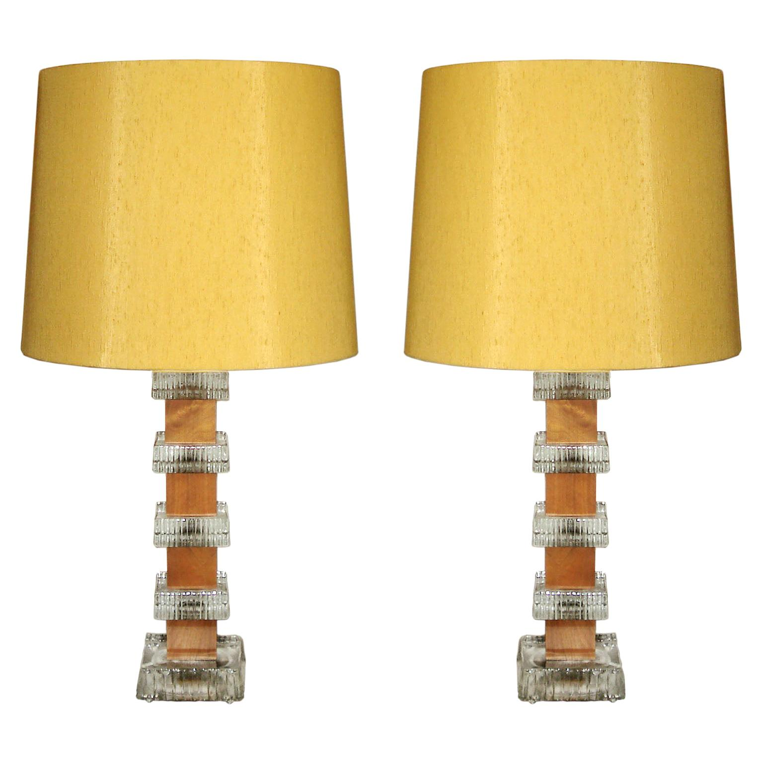 Scandinavian Midcentury Pair of Teak and Crystal Table Lamps