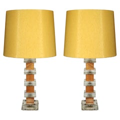Scandinavian Midcentury Pair of Teak and Crystal Table Lamps