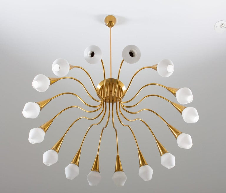 Opaline Glass Scandinavian Midcentury Starburst Chandeliers in Brass by Böhlmarks, Sweden For Sale
