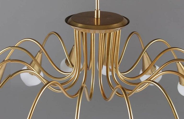 Scandinavian Midcentury Starburst Chandeliers in Brass by Böhlmarks, Sweden For Sale 2