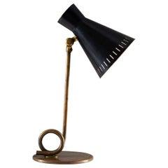 Scandinavian Midcentury Table Lamp in Brass