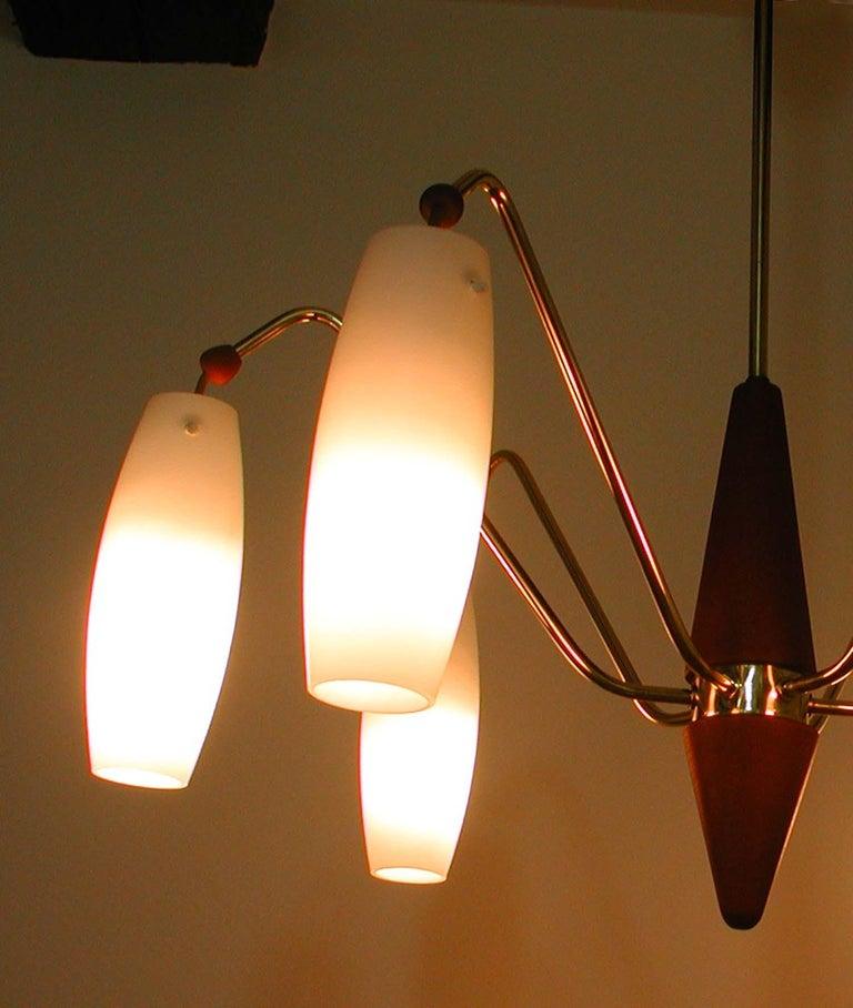 Scandinavian Midcentury Teak and Satin Glass Six-Light Chandelier, Sweden, 1960s For Sale 3